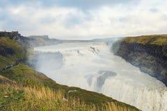 Cascata Islanda di Gullfoss in autunno Immagini Stock Libere da Diritti