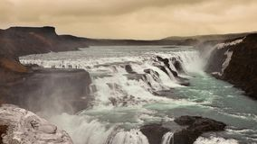 Cascata in Islanda, Gullfoss, cerchio dorato archivi video