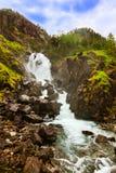 Cascata Laatefossen in Hardanger Norvegia Fotografia Stock Libera da Diritti