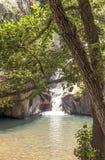 Cascata nel fiume di miele Fotografie Stock Libere da Diritti