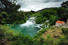 Cascata nel parco nazionale di Krka Fotografia Stock Libera da Diritti