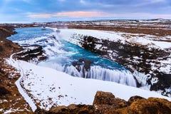 Cascata nell'inverno, Islanda di Gullfoss Fotografie Stock Libere da Diritti