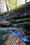 Cascata nella foresta di autunno Immagini Stock Libere da Diritti