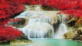 Cascata nella foresta di autunno alla cascata di Erawan Fotografia Stock Libera da Diritti