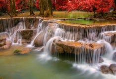 Cascata nella giungla profonda della foresta pluviale (Huay Mae Kamin Waterfall i Fotografie Stock