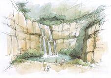 Cascata nelle rocce Immagini Stock