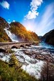 Cascata Norvegia di Latefossen Fotografie Stock