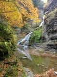 Cascata precipitante a cascata che riflette nel fiume Immagine Stock Libera da Diritti