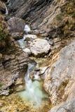 Cascata scenica di Martuljek nel parco nazionale di Triglav in Julian Alps in Slovenia Immagine Stock Libera da Diritti