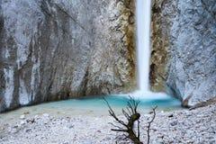 Cascata scenica di Martuljek nel parco nazionale di Triglav in Julian Alps in Slovenia Fotografie Stock Libere da Diritti