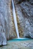 Cascata scenica di Martuljek nel parco nazionale di Triglav in Julian Alps in Slovenia Immagini Stock