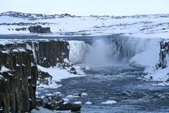 Cascata Selfoss in Islanda, orario invernale Fotografia Stock Libera da Diritti