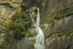 Cascata selvaggia su una roccia nella foresta fotografia stock