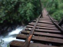 Cascata sotto il ponte di legno alla foresta Fotografia Stock Libera da Diritti