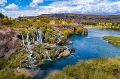 Cascata sul fiume Snake Idaho nel periodo di autunno del sì immagine stock