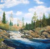 Cascata sul taiga del fiume in primavera Immagine Stock Libera da Diritti