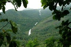 Cascata sulla montagna boscosa fotografia stock