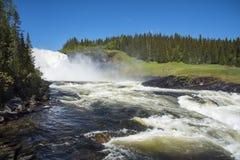 Cascata Svezia di Tannforsen fotografie stock