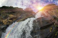 Cascata in Ucraina - sul fiume di Prut Fotografia Stock