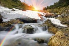 Cascata in Ucraina - sul fiume di Prut Fotografie Stock