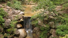 Cascata in un parco giapponese stock footage