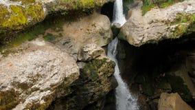 Cascata in una corrente tempestosa della foresta tropicale umida di un fiume della montagna Bella cascata nell'acqua pura della f stock footage