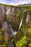Cascata Voringfossen in Hardanger Norvegia Immagine Stock Libera da Diritti
