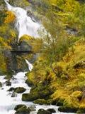Cascate Briksdal Norvegia della valle di Briksdalen Immagine Stock