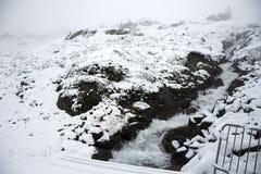 Cascate del ghiacciaio di Kaunertal al parco naturale di Kaunergrat Fotografia Stock