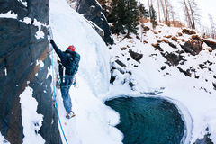 Cascate di Lillaz, Cogne (Val d'Aosta) - Italy. Copyright © 201. Ice climbing: male climber on a icefall in italian Alps. Cogne (Val d'Aosta) - Italy Stock Photos