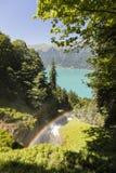 Cascate famose Giessbach con l'arcobaleno nel Bernese Oberland, Svizzera Immagini Stock