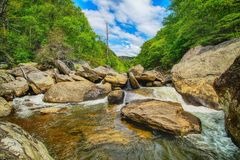 Cascate pacifiche del fiume di Linville Fotografie Stock Libere da Diritti