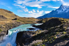Cascate in Parque Nacional Torres del Paine, Cile Immagine Stock