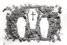 Cascet drie of doodskisttekening in as, stof, vuil wordt gemaakt dat royalty-vrije stock fotografie