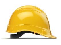 Casco amarillo, casco de seguridad aislado en blanco Imagenes de archivo