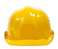 Casco amarillo en blanco Imagenes de archivo