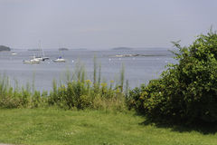 Casco Bay afternoon. Peaceful summer day on Casco Bay along Eastern Promenade Trail Royalty Free Stock Image