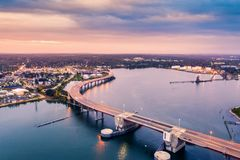 Casco Bay Bridge in Portland, Maine stock photo
