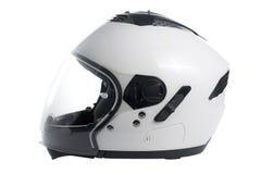 Casco blanco de la motocicleta Fotos de archivo