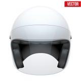 Casco clásico de la moto blanca con el vidrio claro Imagenes de archivo