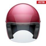 Casco clásico de la moto roja con el vidrio claro Imagen de archivo