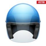 Casco classico della motocicletta blu con vetro trasparente Fotografia Stock Libera da Diritti