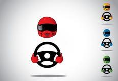 Casco colorido del conductor de coche de competición con las manos en el volante Imagenes de archivo