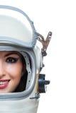 Casco de espacio de la mujer que lleva Foto de archivo