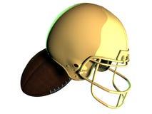 Casco de fútbol americano americano de oro con la bola Imagen de archivo libre de regalías