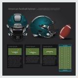 Casco de fútbol americano americano con plan del equipo Fotografía de archivo libre de regalías