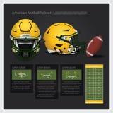 Casco de fútbol americano americano con plan del equipo Imágenes de archivo libres de regalías