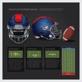 Casco de fútbol americano americano con plan del equipo Imagen de archivo libre de regalías