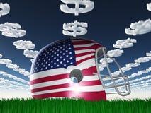 Casco de fútbol americano de la bandera americana en hierba Imagen de archivo libre de regalías