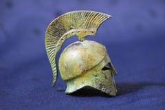 Casco de la batalla del griego clásico Imagen de archivo libre de regalías